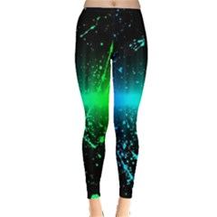 Space Galaxy Green Blue Black Spot Light Neon Rainbow Leggings