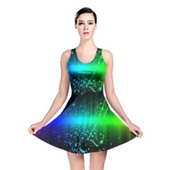 Space Galaxy Green Blue Black Spot Light Neon Rainbow Reversible Skater Dress by Mariart