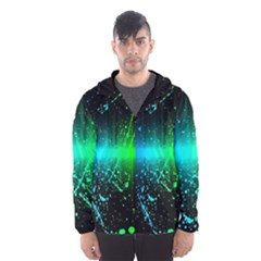 Space Galaxy Green Blue Black Spot Light Neon Rainbow Hooded Wind Breaker (men)