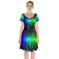 Space Galaxy Green Blue Black Spot Light Neon Rainbow Short Sleeve Bardot Dress