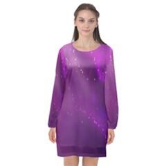 Space Star Planet Galaxy Purple Long Sleeve Chiffon Shift Dress  by Mariart