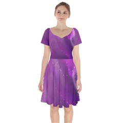 Space Star Planet Galaxy Purple Short Sleeve Bardot Dress by Mariart