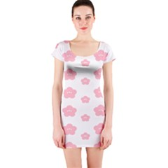 Star Pink Flower Polka Dots Short Sleeve Bodycon Dress by Mariart