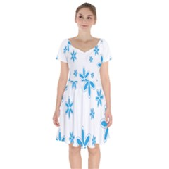 Star Flower Blue Short Sleeve Bardot Dress by Mariart