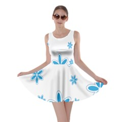 Star Flower Blue Skater Dress