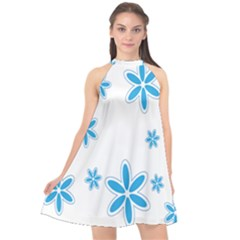 Star Flower Blue Halter Neckline Chiffon Dress