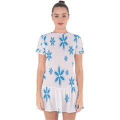 Star Flower Blue Drop Hem Mini Chiffon Dress by Mariart