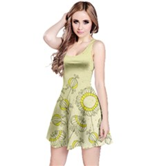 Sunflower Fly Flower Floral Reversible Sleeveless Dress