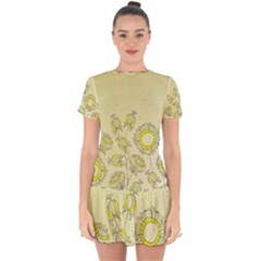 Sunflower Fly Flower Floral Drop Hem Mini Chiffon Dress