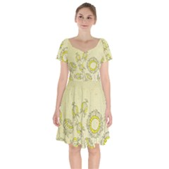 Sunflower Fly Flower Floral Short Sleeve Bardot Dress by Mariart