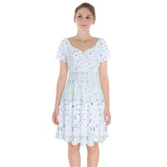 Spot Polka Dots Blue Pink Sexy Short Sleeve Bardot Dress
