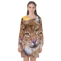 Tiger Beetle Lion Tiger Animals Long Sleeve Chiffon Shift Dress  by Mariart