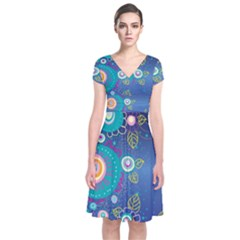 Flower Blue Floral Sunflower Star Polka Dots Sexy Short Sleeve Front Wrap Dress