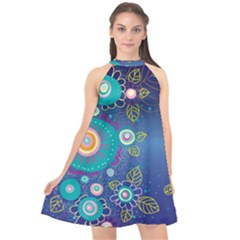 Flower Blue Floral Sunflower Star Polka Dots Sexy Halter Neckline Chiffon Dress