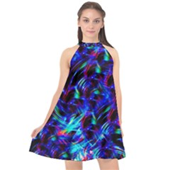 Dark Neon Stuff Blue Red Black Rainbow Light Halter Neckline Chiffon Dress