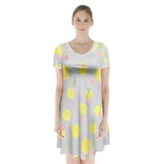 Cute Fruit Cerry Yellow Green Pink Short Sleeve V Neck Flare Dress by Mariart