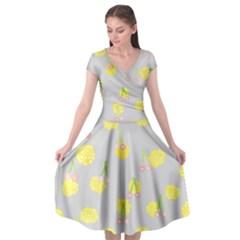Cute Fruit Cerry Yellow Green Pink Cap Sleeve Wrap Front Dress