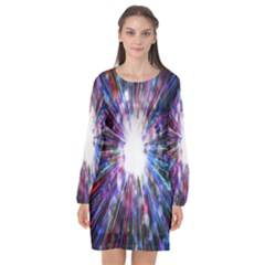 Seamless Animation Of Abstract Colorful Laser Light And Fireworks Rainbow Long Sleeve Chiffon Shift Dress  by Mariart