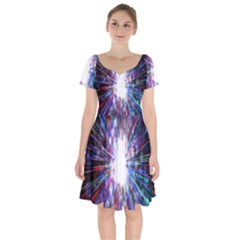 Seamless Animation Of Abstract Colorful Laser Light And Fireworks Rainbow Short Sleeve Bardot Dress by Mariart