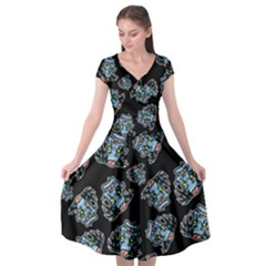 Pattern Halloween Zombies Brains Cap Sleeve Wrap Front Dress by iCreate