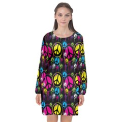 Peace Drips Icreate Long Sleeve Chiffon Shift Dress  by iCreate