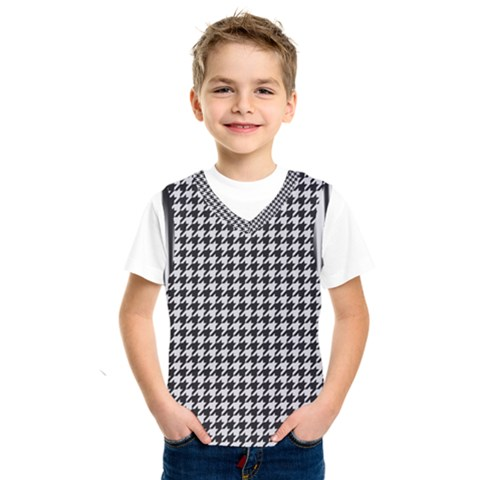Friendly Houndstooth Pattern,black And White Kids  Sportswear