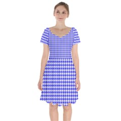 Friendly Houndstooth Pattern,blue Short Sleeve Bardot Dress by MoreColorsinLife
