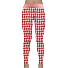 Friendly Houndstooth Pattern,red Classic Yoga Leggings by MoreColorsinLife