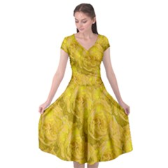 Summer Yellow Roses Dancing In The Season Cap Sleeve Wrap Front Dress by pepitasart