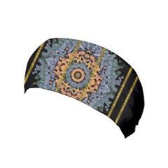Blue Bloom Golden And Metal Yoga Headband by pepitasart