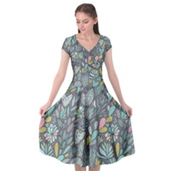 Cactus Pattern Green  Cap Sleeve Wrap Front Dress by Mishacat