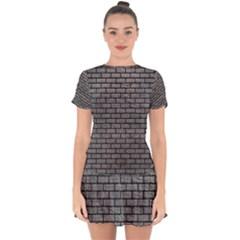 Brick1 Black Marble & Gray Leather (r) Drop Hem Mini Chiffon Dress by trendistuff