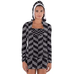 Chevron1 Black Marble & Gray Leather Long Sleeve Hooded T Shirt by trendistuff