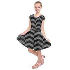 Chevron2 Black Marble & Gray Leather Kids  Short Sleeve Dress by trendistuff