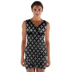 Circles3 Black Marble & Gray Leather (r) Wrap Front Bodycon Dress by trendistuff