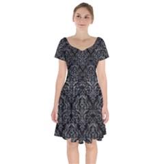Damask1 Black Marble & Gray Leather Short Sleeve Bardot Dress by trendistuff