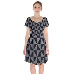 Triangle1 Black Marble & Gray Leather Short Sleeve Bardot Dress by trendistuff