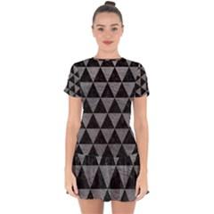 Triangle3 Black Marble & Gray Leather Drop Hem Mini Chiffon Dress by trendistuff
