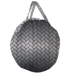 Brick2 Black Marble & Gray Metal 1 (r) Giant Round Zipper Tote