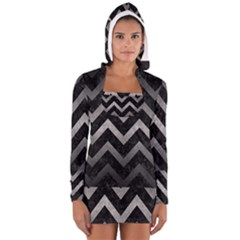 Chevron9 Black Marble & Gray Metal 1 Long Sleeve Hooded T Shirt by trendistuff