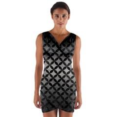 Circles3 Black Marble & Gray Metal 1 (r) Wrap Front Bodycon Dress by trendistuff