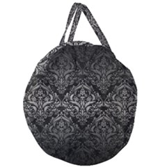 Damask1 Black Marble & Gray Metal 1 Giant Round Zipper Tote