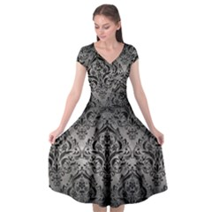 Damask1 Black Marble & Gray Metal 1 (r) Cap Sleeve Wrap Front Dress by trendistuff