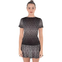 Hexagon1 Black Marble & Gray Metal 1 (r) Drop Hem Mini Chiffon Dress by trendistuff