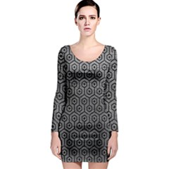 Hexagon1 Black Marble & Gray Leather (r) Long Sleeve Bodycon Dress by trendistuff