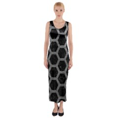 Hexagon2 Black Marble & Gray Leather Fitted Maxi Dress by trendistuff