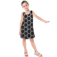 Hexagon2 Black Marble & Gray Leather Kids  Sleeveless Dress by trendistuff