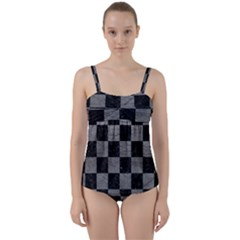 Square1 Black Marble & Gray Leather Twist Front Tankini Set by trendistuff