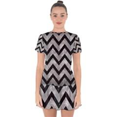 Chevron9 Black Marble & Gray Metal 2 (r) Drop Hem Mini Chiffon Dress by trendistuff