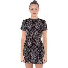 Damask1 Black Marble & Gray Metal 2 Drop Hem Mini Chiffon Dress by trendistuff